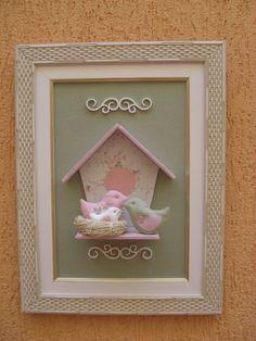 Quadro ninho de passarinhos para porta de maternidade ou decoração de quarto infantil. R$70,00