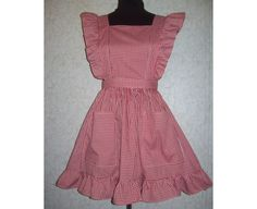 Plus Size 1X Ruffled Bib Apron Pinafore Red, Pink or Blue Gingham Checks poly/cotton blend