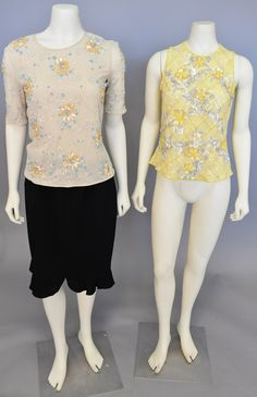 Lot 83: Escada group to include two silk blouses with beaded flowers and a black Escada skirt. #Nadeausauction #Socialite #Luxury #Couture #Vintage #Fashion #Auction