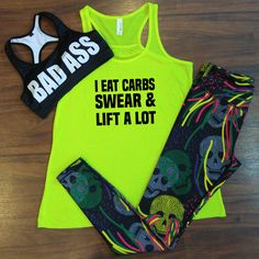 Workout outfit with a funny carbs tank, colorful skull leggings and a badass sports bra Workout Attire, Workout Wear, Workout Shirts, Workout Outfits, Gym Outfits, Athletic Outfits, Workout Fitness, Workout Motivation, Fitness Diet