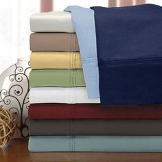 Superior 1200 Thread Count Premium Single-Ply Long-Staple Combed Cotton Solid Pillowcase Set, Blue