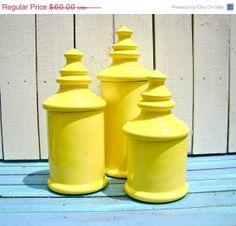 Vintage Yellow Ceramic Canister Set | via Etsy