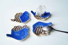 Royal Blue Teapot Tea Bag Rest Tea Bag Holder Ceramic by bemika