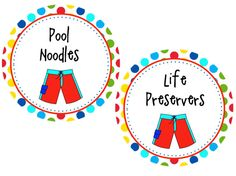 pool party printables cute, cute!
