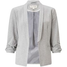 Miss Selfridge Grey Ruched Sleeve Ponte Blazer ($60) ❤ liked on Polyvore featuring outerwear, jackets, blazers, grey, grey blazer jacket, miss selfridge, grey jacket, gray blazer and gray jacket