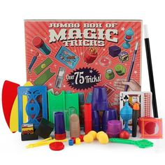 $15.99 – $16.99 A real magician's Illusion box which can vanish and produce objects, as well as transform one object into anotherCups And Balls, where a ball can be moved in the blink of an eye between the cupsMultiplying Billiard Balls, turn one into fourThe Amazing Money Making Machine, print 'real' money on blank paperThe Phantom Deck, find a spectator's chosen card then turn the whole deck to that cardThe Magic Card Box, vanish a card, change one card into another and ev Magic Tricks For Beginners, Easy Magic Tricks, How To Do Magic, Dinosaur Toys For Kids, Coin Tricks, Magic Sets, Close Up Magic, Best Kids Toys, Birthday Gifts For Kids