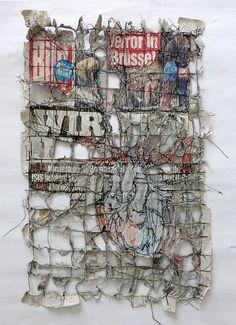being the news Home textile art mixed media Art Fibres Textiles, Textile Fiber Art, Textile Artists, Collage Kunst, Collage Art, Journal D'art, Wal Art, Newspaper Art, Political Art