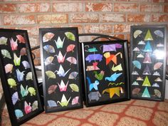 black shadow boxes with origami