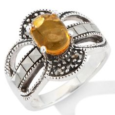 Amber and Marcasite Sterling Silver Ring
