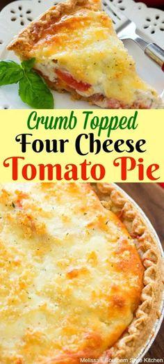 Crumb topped four cheese tomato pie. Crumb topped four cheese tomato pie. Tart Recipes, Vegetable Recipes, Vegetarian Recipes, Cooking Recipes, Quiche Recipes, Kitchen Recipes, Empanadas, Zucchini, Southern Tomato Pie