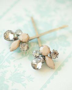 Pretty hair pins. #hair #pin #clip #cream #bead #jewel