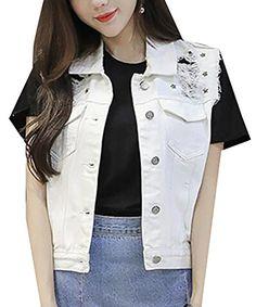 37a0841b7b2 Papijam Womens Slim Hole Vintage Washed Cutoff Jean Jacket Denim Vest White  M Cropped Jeans