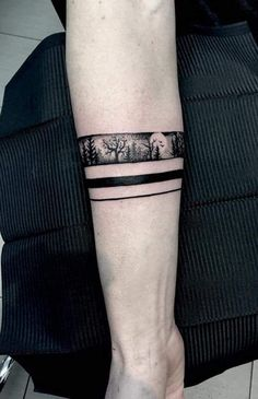 Ideas for landscape tattoo band Armband Tattoos, Armband Tattoo Design, Anklet Tattoos, Sleeve Tattoos, Tattos, Ankle Band Tattoo, Forearm Band Tattoos, Arm Tattoo, Samoan Tattoo