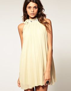 Rare Pleated Embellished High Neck Dress at ASOS. Shop this season's must haves with multiple delivery and return options (Ts&Cs apply). Beige Dresses, Cute Dresses, Free Clothes, Clothes For Women, Latest Clothes, Dress Up, High Neck Dress, Costume, Feminine Dress