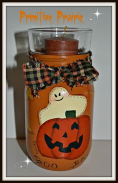 Mason Jar for Candle or Candy Holder by PrimitivePrairie on Etsy, $13.99
