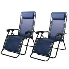 2PC Patio Zero Gravity Chair Lounge With Cup Holder, Navy