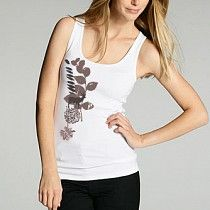 #sumJNw430SB ecoKashmere Baby Ribbed Bloom Graphic Tank - Natural elements on this eco style super soft baby ribbedd tank are depicted in low impact PVC and Phalate free waterbased printing.   A full coverage piece that's totally versatile and ideal for lazy walks on sun kissed beaches.  For a more relaxed fit buy one size up. Machine Washable Viscose from Organic Bamboo Spandex Blend.  $49.00  www.stylishorganics.com