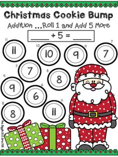 This FREEBIE is a great holiday math game for your students to play to practice addition with 5. The only thing you will need to add is dice! Christmas Cookie Bump is a 2 player game. This FREEBIE is part of my Addition Bump Holiday Edition 5 Game Set!