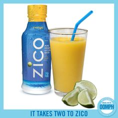 """Im seriously addicted to thus water! This """"It Takes Two to ZICO"""" drink contains mango, lime juice, coconut water, and cayenne pepper. Spicy and sweet! Zico Coconut Water, Coconut Water Drinks, Coconut Water Recipes, Coconut Water Smoothie, Juice Smoothie, Healthy Dessert Recipes, Smoothie Recipes, Vitamix Recipes, Healthy Foods"""