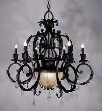 Antique Style Huge Chandelier Ceiling Light Fixture Lamp with Crystals Black