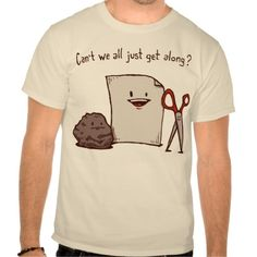 """Can't We All Just Get Along?"" Humorous T-Shirt featuring Paper, Rock & Scissors - Funny Market - humor & oddity gift shopping"