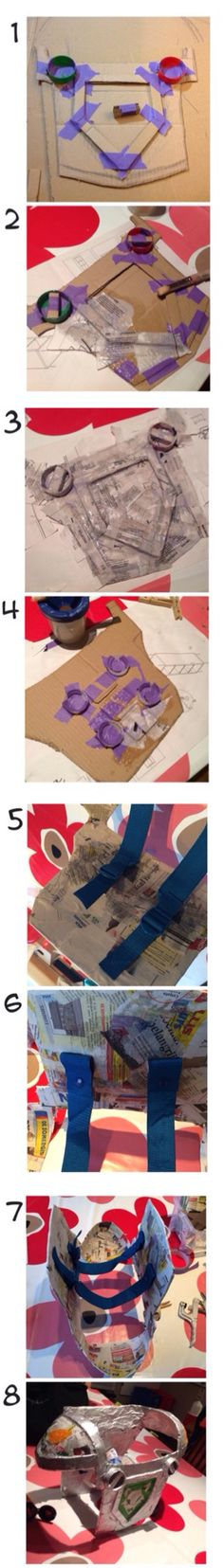 DIY Lego Nexo Knights harnass 1. Draw the harnass on cardboard & cut out - 2 layers cardboard for rim around  'logo' - plastic milk bottle caps for 'screws'.  2. Cover everything with newspaper and 'art attack'-glue. 3. Let it dry 4. Do same with back 4b.I used top of 5l bottle of water & cut it in half for sholderparts 5. I used straps of an old backpack & attached it with a piece from the bottle i used earlier & attached it with newspaper & glue & kamsnaps 8. Paint & finishing touch!
