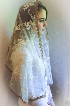 Evintage Veils~ Our Lady of Grace** Ivory & Gold Vintage Inspired Lace Chapel Veil Scarf Mantilla Shawl by EvintageVeils on Etsy