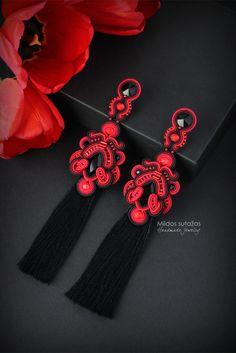 Soutache Necklace, Tassel Earrings, Boho Jewelry, Jewlery, Micro Macrame, Shibori, Beaded Embroidery, Earrings Handmade, Tassels