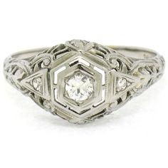 Antique Art Deco 18k White Gold 0.20ctw 3 Stone European Diamond Filigree Ring #Unbranded #Solitaire