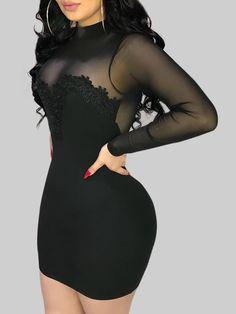 Women's Sheath Dress Lace Long Sleeve Pencil Dress Stand Collar Sexy High Waist Solid Color Dresses Women's Fashion Dresses, Sexy Dresses, Short Dresses, Bandage Dresses, Easter Dresses For Women, Red Black Dress, Cheap Dresses Online, Applique Dress, Flower Applique
