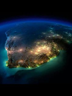 "ofthemoonandsea: "" coolthingoftheday: "" The Earth at night. Photographs taken by NASA. (Source) "" Get the fuck out of my face this is the coolest shit i've ever seen, do you realize how lucky we are. Earth And Space, Pretoria, Earth At Night, Out Of Africa, Thinking Day, Belle Photo, Wonders Of The World, Places To See, Cool Photos"