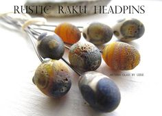 Handmade 8 Organic Lampwork Headpin set  Art Glass by GlassByLeese