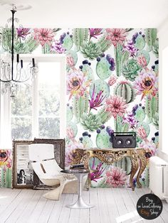 Watercolor Cactus Flowers Removable Wallpaper The wall murals are printed on MagicStick - innovative, self-adhesive material, which allows them to be applied and peeled multiple times! Mural Floral, Floral Wall, Opuntia Cactus, Cactus Cactus, Cactus Decor, Watercolor Cactus, Cactus Print, Flower Wallpaper, Photo Wallpaper