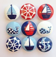 FLASH SALE Hand Painted Nautical Drawer Knobs - per knob