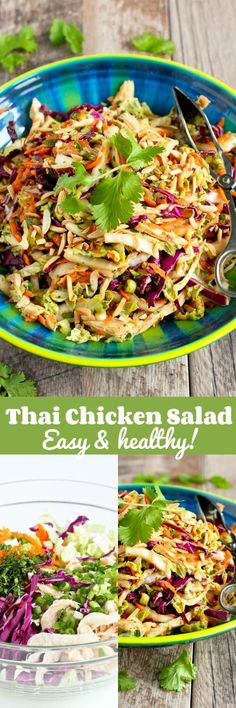 Thai Chicken Salad Recipe…It's virtually impossible to stop eating this deli. Thai Chicken Salad Recipe…It's virtually impossible to stop eating this delicious, healthy salad! 236 calories and 5 Weight Watcher SmartPoints - Salat Rezepte Thai Chicken Salad, Chicken Salad Recipes, Healthy Salad Recipes, Recipe Chicken, Vegetarian Salad, Vegetarian Turkey, Healthy Chicken, Comidas Light, Healthy Recipes