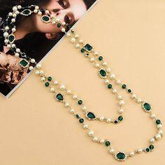 Barato Grátis frete pérola qualidade Vintage longo jóia verde colar de jóias…