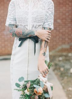 Simple Bridal Shoot with a Tattooed Bride Bridal Session, Bridal Shoot, Brides With Tattoos, Tattooed Brides, Wedding Bells, Wedding Bride, Tattoo People, Old School, Lace Skirt