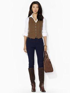 Houndstooth Wool Vest - Jackets Women - RalphLauren.com