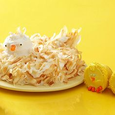 A mother hen isn't herself without her baby chicks. Coconut and sprinkles give the birds realistic (and tasty) feathers.