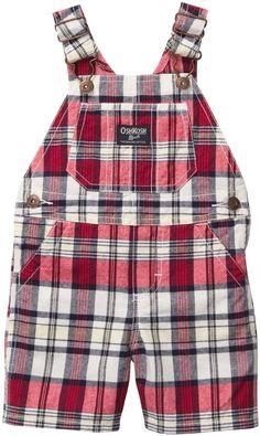 OshKosh B'Gosh Boys 3M 6M Red & Navy Plaid Cotton Shortalls $32 NWT #OshKoshBgosh #Everyday