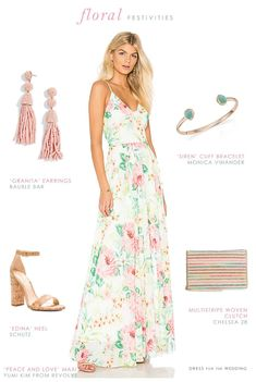 Love this look for a rehearsal dinner or summer party! More on styling an Ivory, Pink, and Green Floral Maxi Dress. Summer Fashion For Teens, Summer Fashion Outfits, Fashion Dresses, Dresses For Teens, Summer Dresses, Summer Clothes, Casual Dresses, Engagement Party Dresses, Wedding Outfits