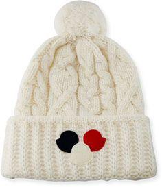 a6e72435b1b Moncler Cable-Knit Pom-Pom Beanie Hat w Dots