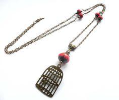 Long pendant necklace bronze jewelry bird by FrancoiseCreations