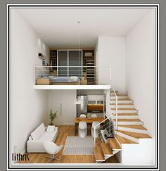 Tiny Loft Apartment Efficient Design Of A Tiny Apartment Loft In Nyc Idesignarch. Tiny Loft Apartment Compact Apartment Gets Efficient Airy Makeover I. Mini Loft, Small Room Design, Tiny House Design, Loft House, House Rooms, Loft Design, Design Case, Design Design, Design Ideas