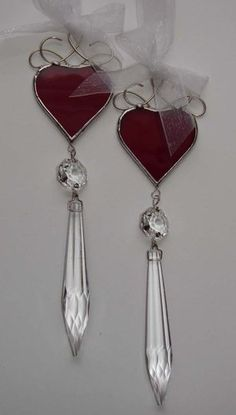 Stained Glass Red Valentine Heart Ornaments
