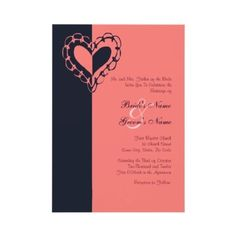 Navy and Coral Wedding Ideas  Blue and Pink Heart Wedding Invitation