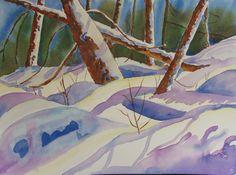 Snow Shadows Original Watercolor by Kathy Olson by KathyAOlson, $35.00