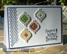 SU! Mosaic Madness and Happiest Birthday Wishes (retired) stamp sets; Mosaic punch; colors are Midnight Muse, Raspberry Ripple, Summer Starfruit and Gumball Green - Kerry Bunting