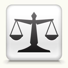 Square Button with Justice Balance royalty free vector art