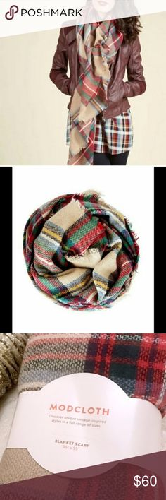 ModCloth Loch & Key Plaid Red/Tan Blanket Scarf Let this comfy tartan scarf be the lynchpin of your look as you travel everywhere from the mysterious moors of Scotland to your favorite cozy cafe. Oversized and super soft. 100% Acrylic. Measures 55 x 55 inches. ModCloth Accessories Scarves & Wraps